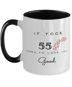 55th Birthday Gift Two Tone Black and White Coffee Mug, it took 55 years to look this good - Happy Birthday Best Gift for 55 years old - Flower