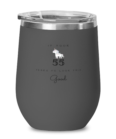 55th Birthday Gift Black Wine Glass, it took 55 years to look this good - Happy Birthday Best Gift for 55 years old