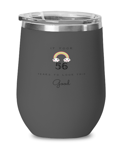 56th Birthday Gift Black Wine Glass, it took 56 years to look this good - Happy Birthday Best Gift for 56 years old
