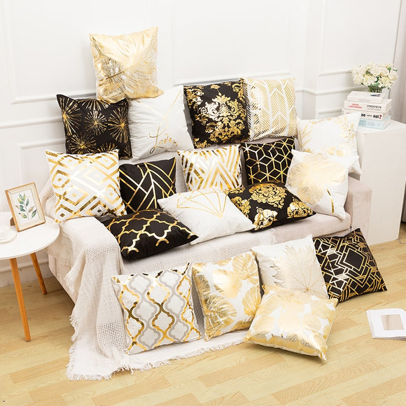 Fata perna decor Crăciun auriu-alb-negru RULDGEE Gold Pillow Case Black And White Golden Painted Pillowcase Decorative Christmas Cushion Cover For Sofa Case Pillows‼️SALE‼️