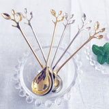 1 PCS Vintage Exquisite Branch Shape Small Coffee Spoon Royal Style Flatware for Snacks Kitchen Dining Bar Mini Dessert Spoon
