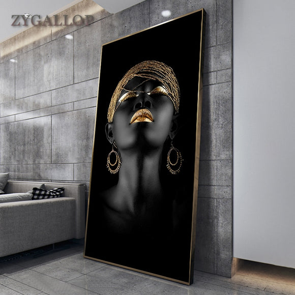 Arta Modernă -  tablou Femeie Africana. Modern Art Canvas Painting African Black Woman Posters and Prints Scandinavian Wall Art Pictures For Living Room Home Decoration‼️REDUCERI‼️