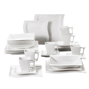 MALACASA Serie Flora 30 Piece White Porcelain Dinner Set with 6 Piece Cups, Saucers, Dessert Soup Dinner Plates Service 6 Person