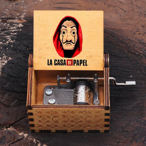 Wooden Hand Crank Music Box LA CASA DE PAPEL Bella Ciao Theme Music Boxes birthday Christmas Gift Casket Decoration