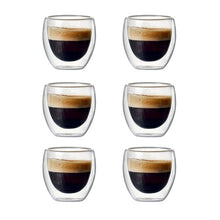Load image into Gallery viewer, Set of 2/6 80ml Double-wall Insulated Glass Coffee Cup Set for Drinking Teacup of coffee,Latte,Espresso cup or  drinking cup