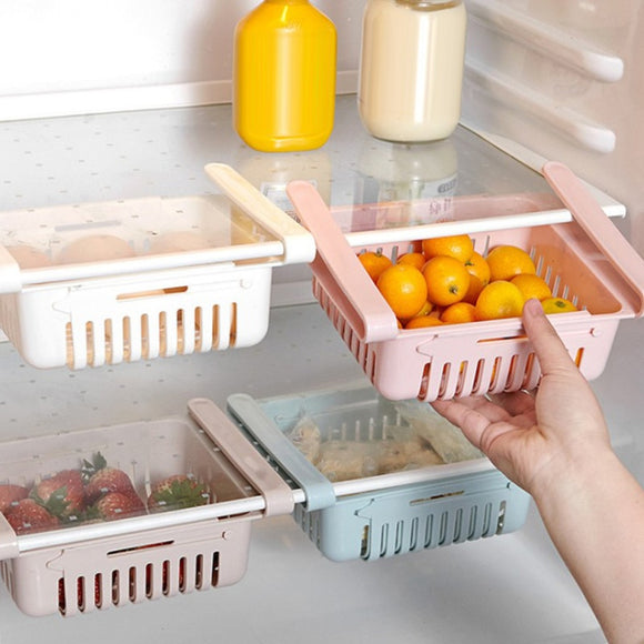 Storage Holders Kitchen Organizer Adjustable Kitchen Refrigerator Storage Rack Fridge Freezer Shelf Holder Drawer Organiser