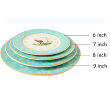 Load image into Gallery viewer, Platou rotund pictat manual; Model Cerb Full Set Tableware 1pcs/set