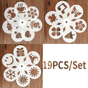 Model desen pe cafea. 19 bucati / set. New 19 Pcs/set Fancy Coffee Printing Model Drawing Cappuccino Mold Powdered Sugar Sieve Tools