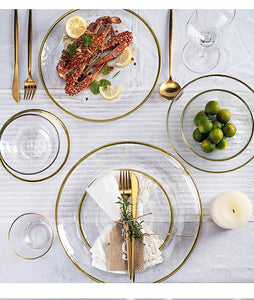 Set farfurii&bol din sticla INS Nordic Western Glass Dinner Plates Tableware Transparent Salad Fruit Plate Creative Dishes and Plates Sets