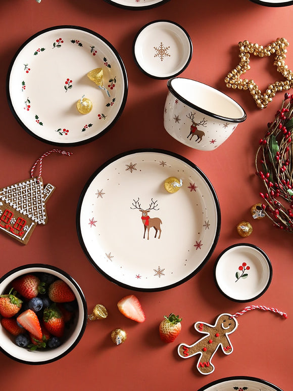 Christmas dinner plate Ceramic tableware salad bowl Housewares kitchen dishes and plates sets dinnerware Utensils for kitchen
