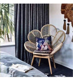 Scaune ratan, model Nordic Nordic Living Room Chairs Ins Flower Chair Leisure Chair Creative Modern Armchair Peacock Solid Wood Rattan Homestay Back Chair