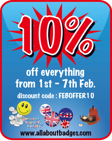10 percent off on all orders February