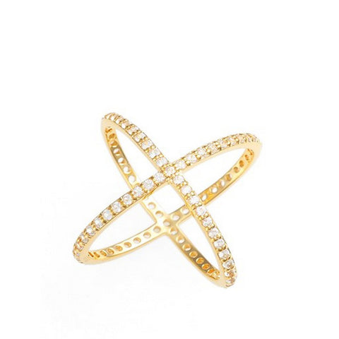 Alex Mika Gold Criss Cross Ring