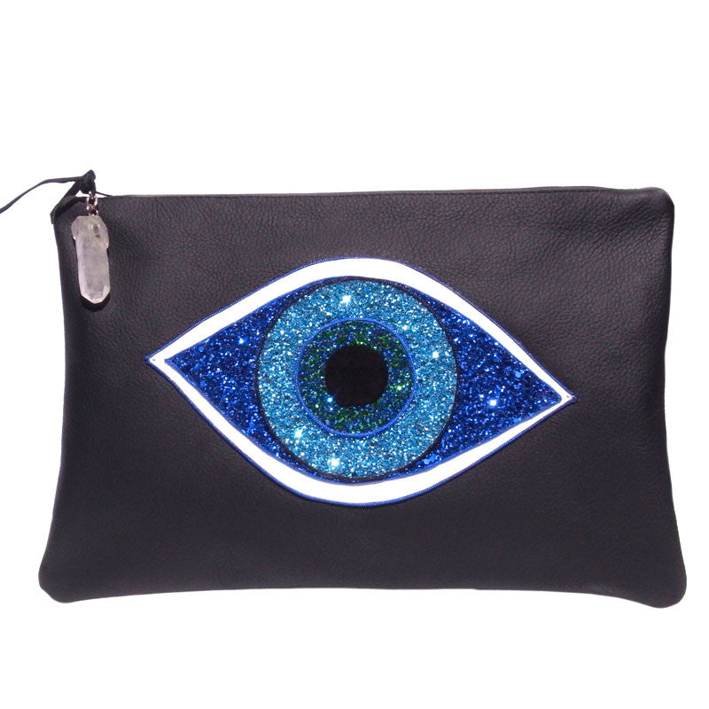 Black Leather Evil Eye Clutch