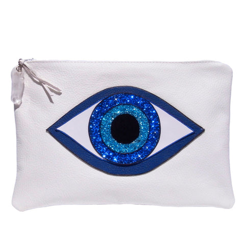 GreenEyeRocks White Evil Eye Clutch