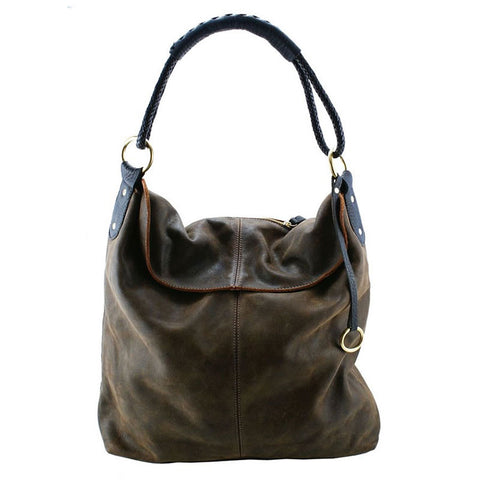 Henri Lou Brown Distressed Leather Hobo