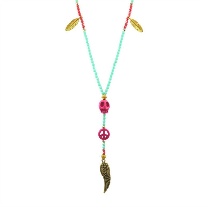 Amanda Marcucci Mint Green and Pink Skull Necklace
