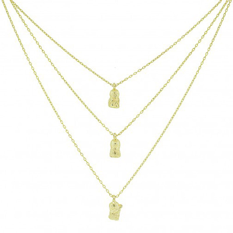 Blee Inara Triple Buddha Charm Necklace