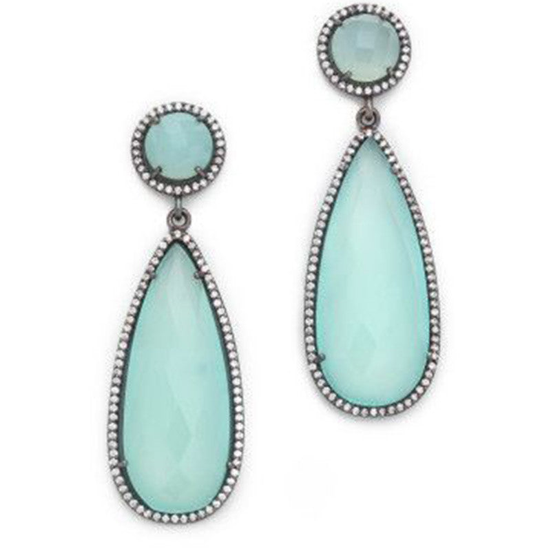 Susan Hanover Blue Opal Chalcedony Earrings