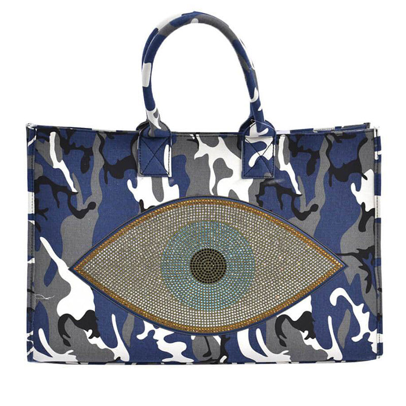Blue Camouflage Evil Eye Tote