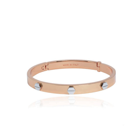 Fine Rivets Rose Gold Bangle