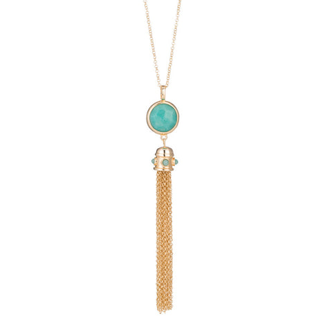 Marcia Moran Amazonite Tassel Necklace