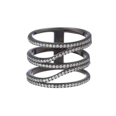 Gunmetal Three Band Ring