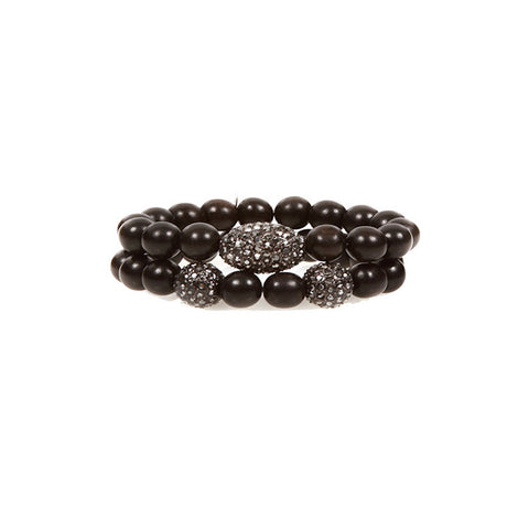 Hip Chik Vintage Black Beaded Bracelet Set