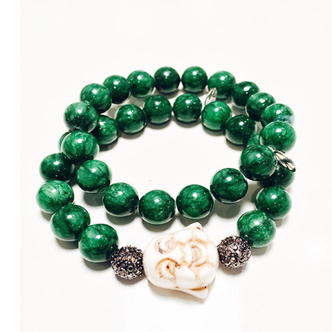 Hip Chik Green Buddha Bracelet Set