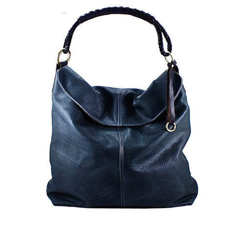 Henri Lou Black Leather Hobo