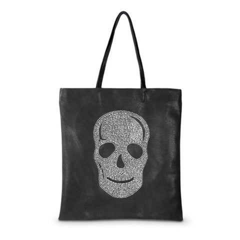 Kimberley Model Black Crystal Skull Tote