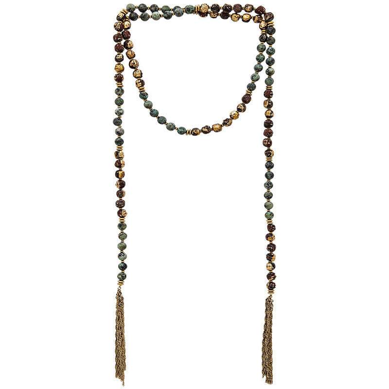Gypset Beaded Tassel Necklace