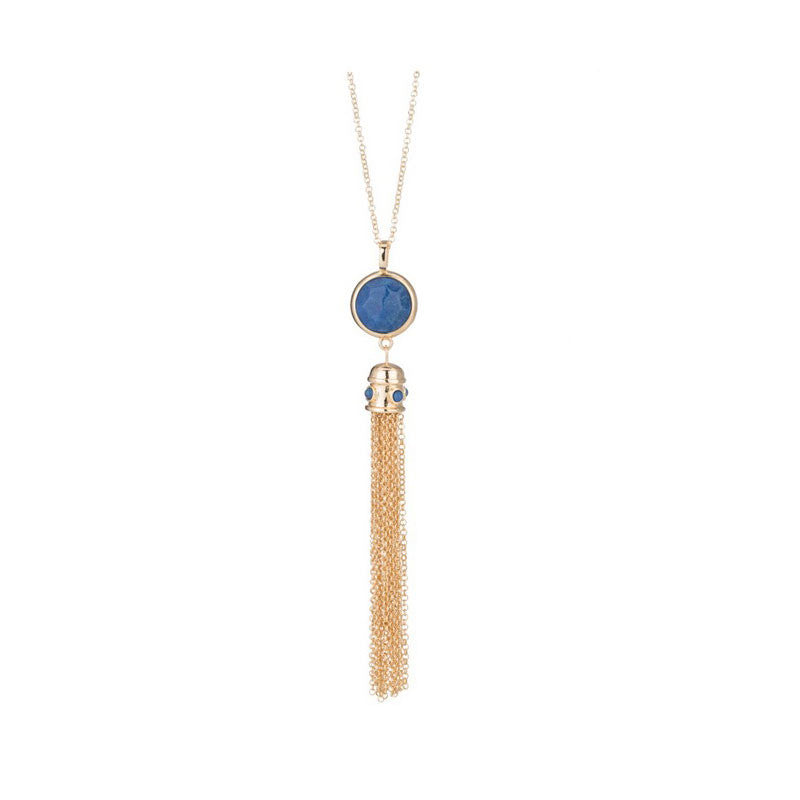 Marcia Moran Blue Quartz Tassel Necklace