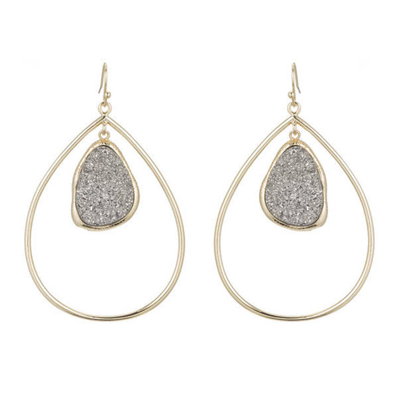Titanium Druzy Drop Earrings