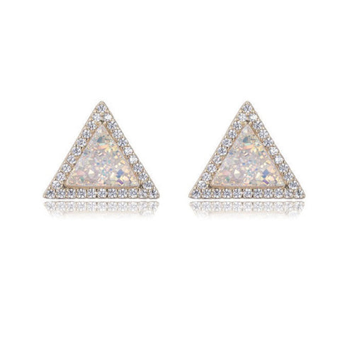 White Druzy Triangle Studs