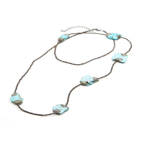 Pyrite Turquoise Layering Necklace