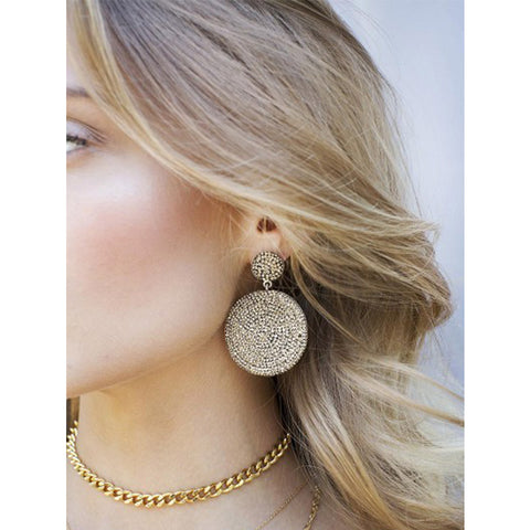 Gold Crystal Disc Earrings
