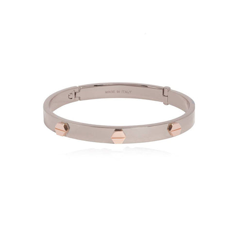 Fine Rivets Silver Bangle