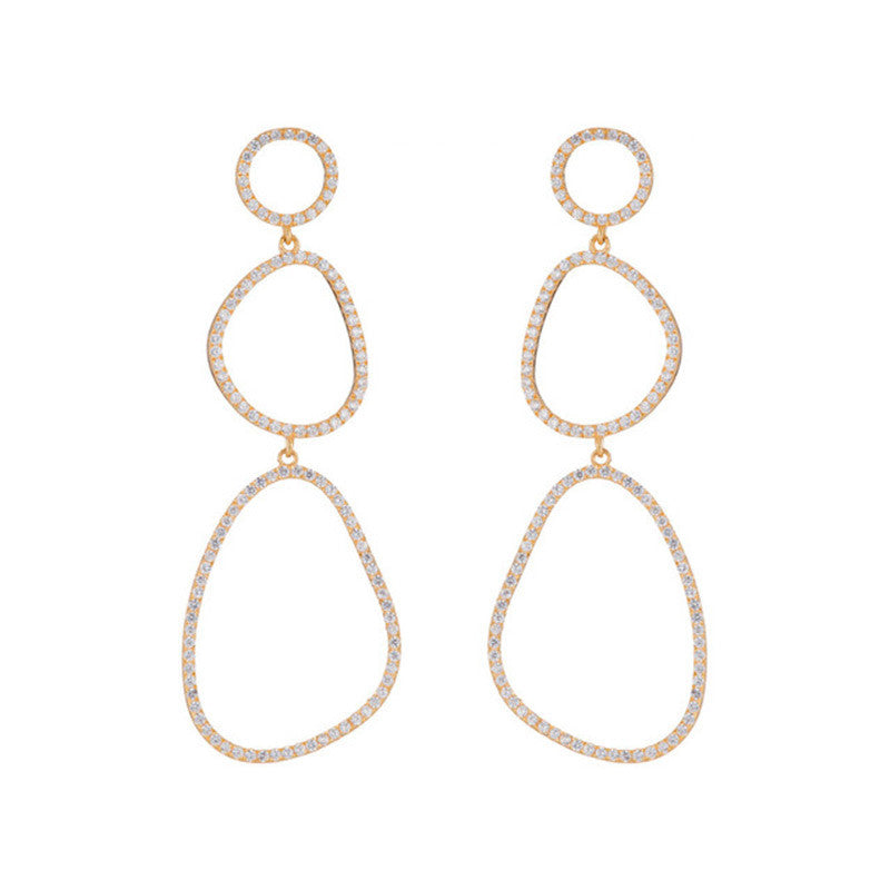 Marcia Moran Triple Drop Gold Earrings