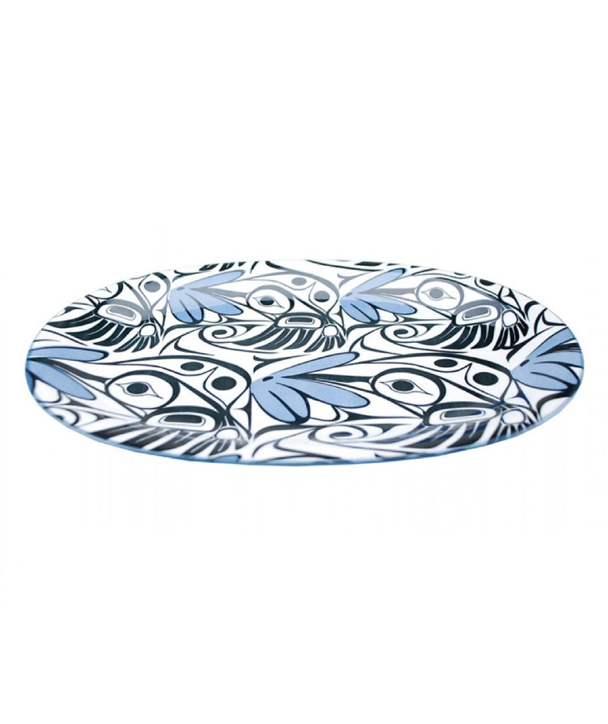 Large Oval Platter - Hummingbird (Blue/Black)