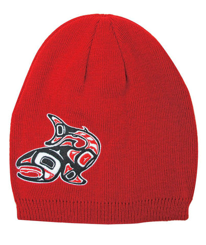 Embroidered Knitted Hat - Salmon