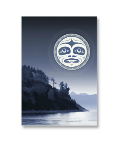 "Framed Art Card - Under a Salish Moon 12"" x 9"""