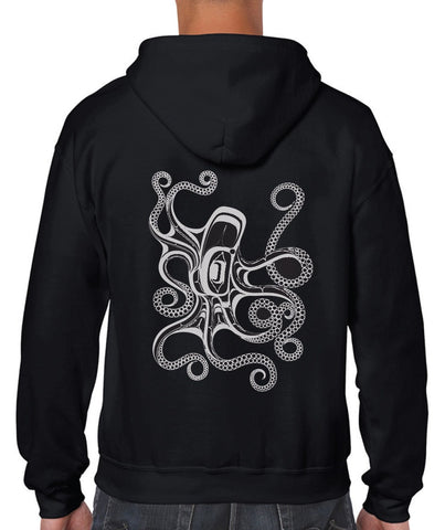 Hooded Zippered Sweatshirt - Octopus