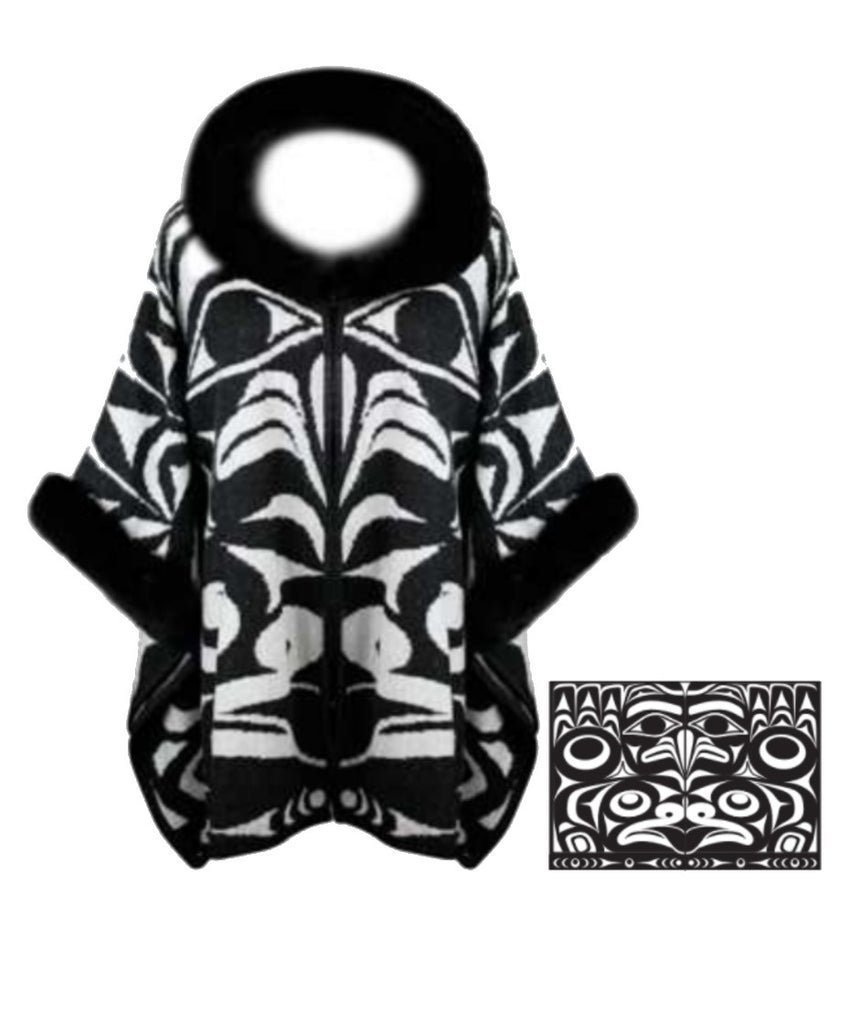 Knitted Shawl  - Frog & Eagle (White/Black)