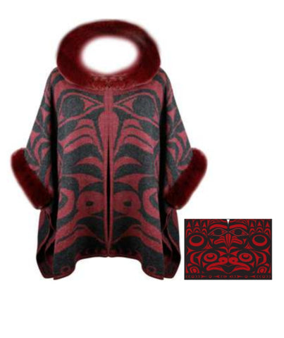 Knitted Shawl  - Frog & Eagle (Red/Black)