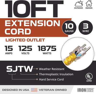 10 Foot Lighted Outdoor Extension Cord - 10/3 SJTW Yellow 10 Gauge Extension Cable with 3 Prong Grounded Plug for Safety - Great for Garden and Major Appliances