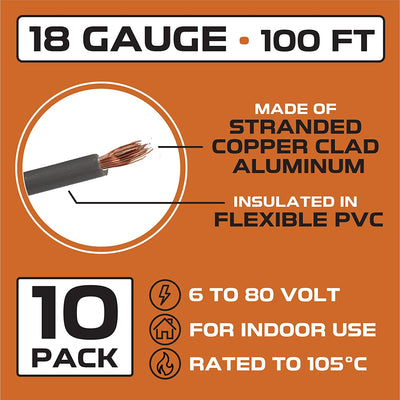18 Gauge Primary Wire - 10 Roll Assortment Pack - 100 Ft of Copper Clad Aluminum Wire per Roll