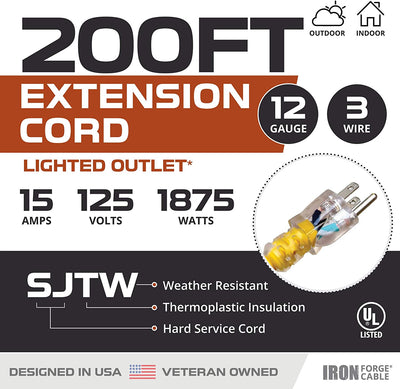 200 Foot Lighted Outdoor Extension Cord - 10/3 SJTW Yellow 10 Gauge Extension Cable with 3 Prong Grounded Plug for Safety - Great for Garden and Major Appliances