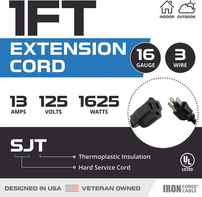 5 Pack of 1 Foot Black Extension Cords - 16/3 SJT Durable Electrical Extension Cord Set