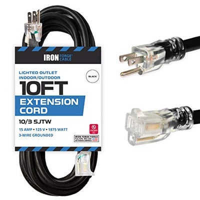 10 Foot Lighted Outdoor Extension Cord - 10/3 SJTW Black 10 Gauge Extension Cable with 3 Prong Grounded Plug for Safety - Great for Garden and Major Appliances